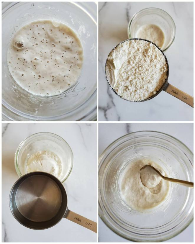 A birds eye view four way image collage is shown. The first image shows the bottom of the jar and an active bubbly sourdough starter in the bottom. The second image shows a 1/3 cup measurement of flour being held over the jar. The third image shows a 1/4 cup measurement of water being held over the jar that now contains the fluffy flour seen below. The fourth image shows the jar after the water has been added, it is being stirred with a golden fork and the mixture resembles a slightly wet dough.