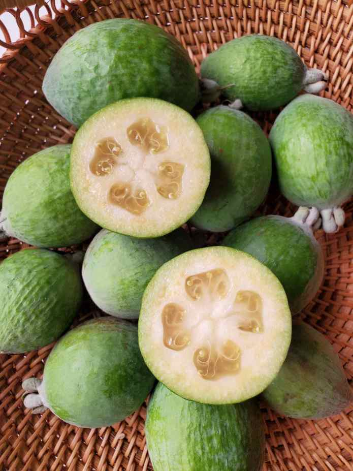 A wicker basket full of pineapple guava fruit. One of the fruit is cut in half along its equator and the inside flesh is on display. The flesh is a light white yellow in color and there are four gelatinous cavities amongst the firmer flesh.