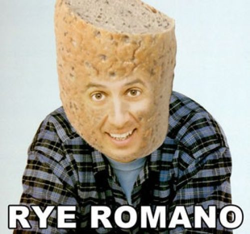 A spoof image of Ray Romano is shown, although this is Rye Romano. His face has a loaf of rye bread superimposed onto it to go along with the funny sourdough starter name.