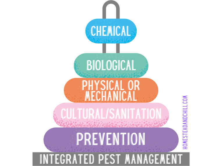 A pyramid of Integrated of Pest Management hierarchy. From the bottom to the top there are levels of action the bottom being what to start with first. These are Prevention, Cultural/Sanitation, Physical or Mechanical, Biological, and finally Chemical. IPM is a very important gardening term.
