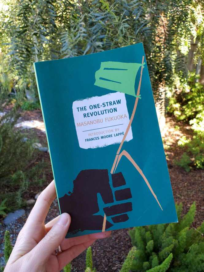 """DeannaCat is holding the book, """"One Straw Revolution"""" by Masanobu Fukiuoka. Beyond lies a yard space with rosemary, foxtail ferns, a pepper tree, and various other plants."""