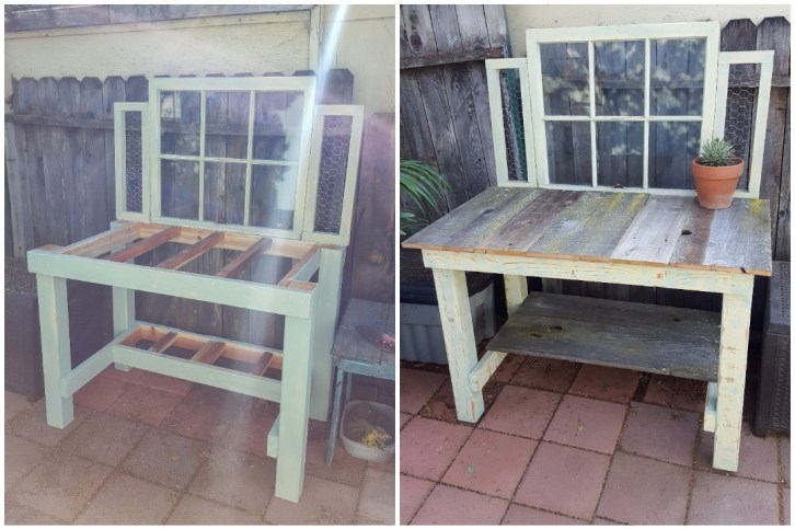 A two part image collage, the first image shows a potting bench almost fully constructed. It has a similar frame design as the greenhouse benches yet it has an old window attached as a backboard to the top of the bench. There are supports on the top and  towards the bottom of the bench that will allow for boards to be attached on top, making a shelf below and a surface for the top of the bench. The second image shows the bench after boards have been added to the top as well as the bottom to finish the shelf.