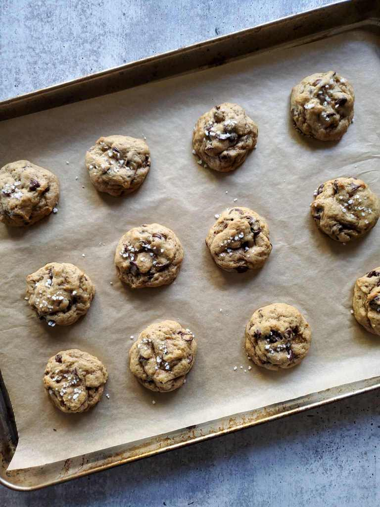 A baking sheet lined with parchment paper has three rows of sourdough chocolate chip cookies that have just finished baking. The cookies are darker brown in color with even darker specks of chocolate chips, they are accented with a light sprinkle of white flakey sea salt on top.