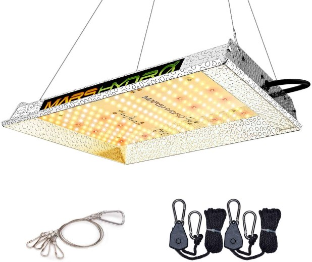 A LED light fixture with attachment cables.
