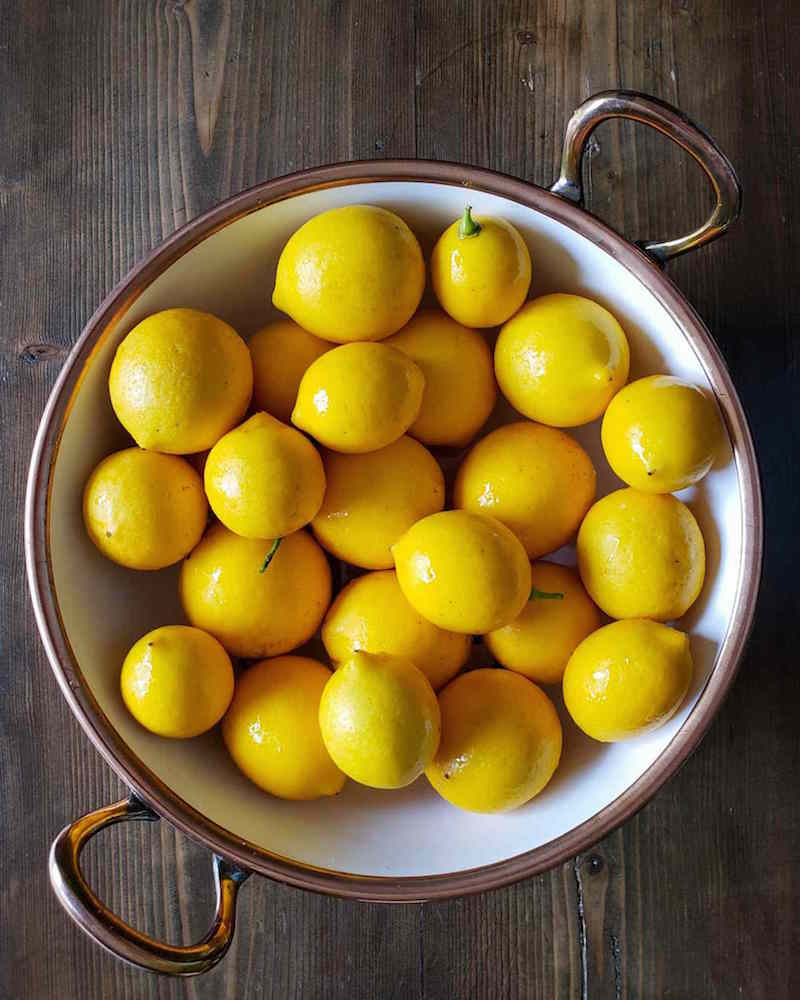 A white ceramic mixing bowl that has a copper colored rim and handles is shown. It is full of bright gold, smooth skinned lemons that are glistening in the light.