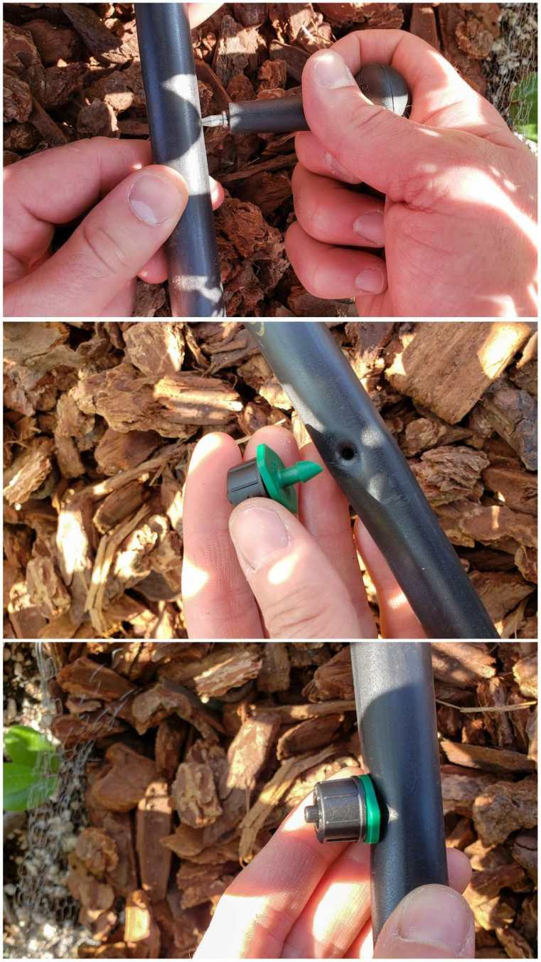 A three part image collage, the first image shows a hand bracing one side of the half inch tubing while the other hand is using an irrigation punch to make a hole in the tubing. The second image shows a 2 gallon an hour emitter next to the hole in the tubing, the third image shows the emitter connected into the drip irrigation tubing from a hose bibb.