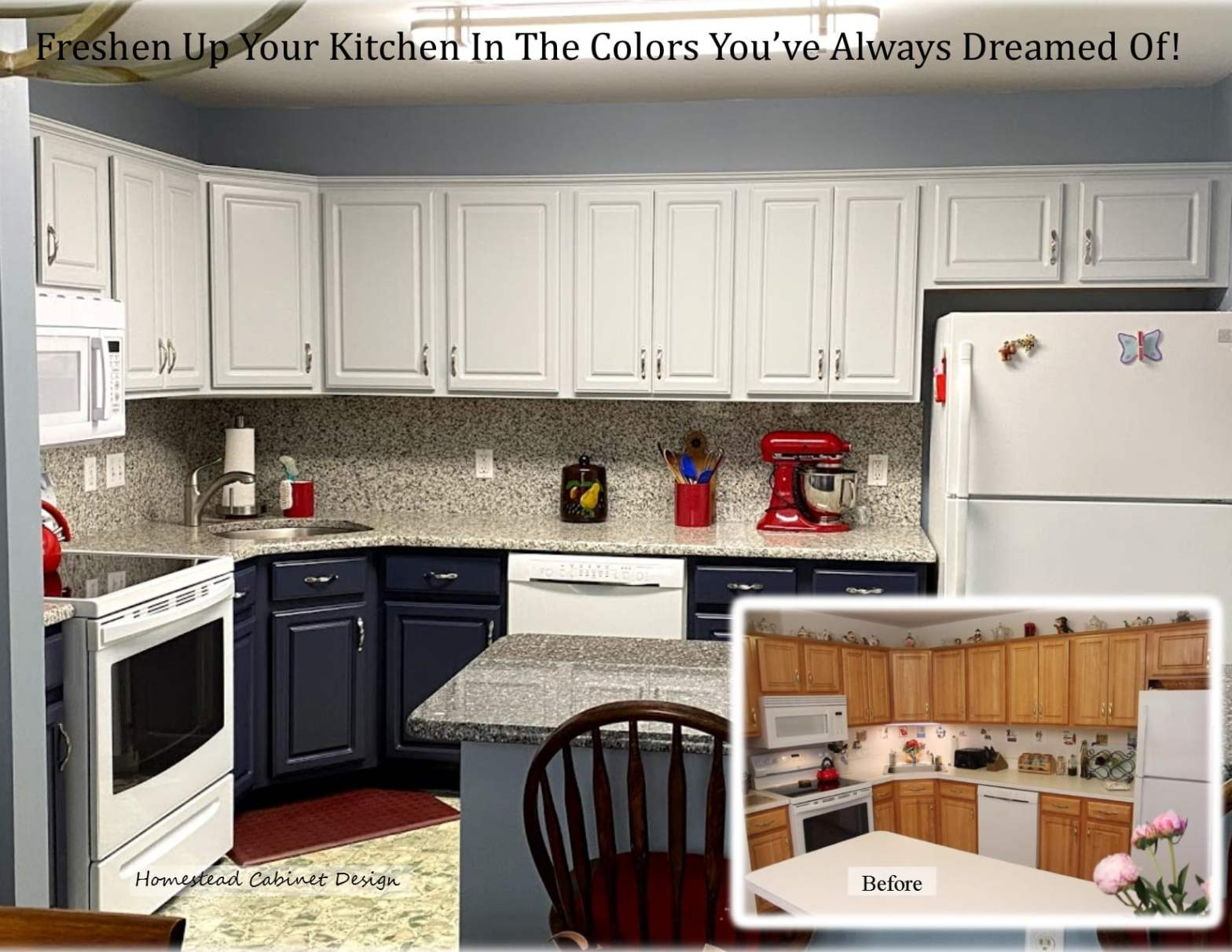 blue painted lower cabinets with white upper