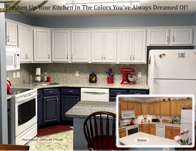blue painted lower cabinets with white uppers really enhanced this kitchne