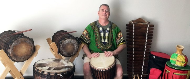 Mike Long drummer Homestead Drumming djembe dununs shekere