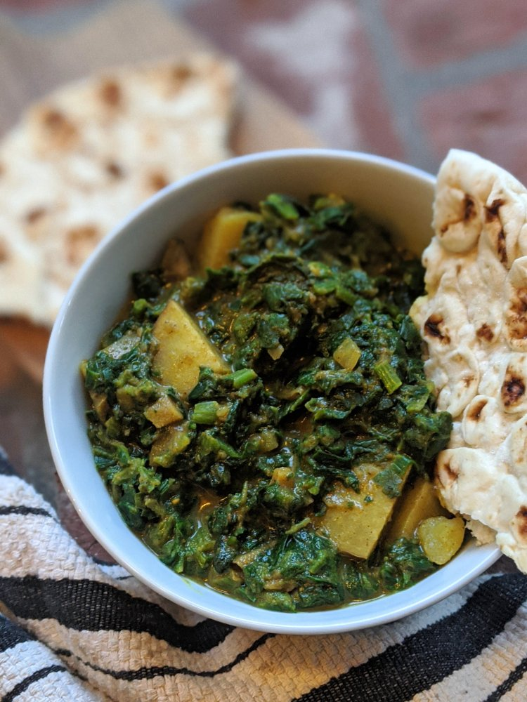 slow cook spinach potatoes saag aloo