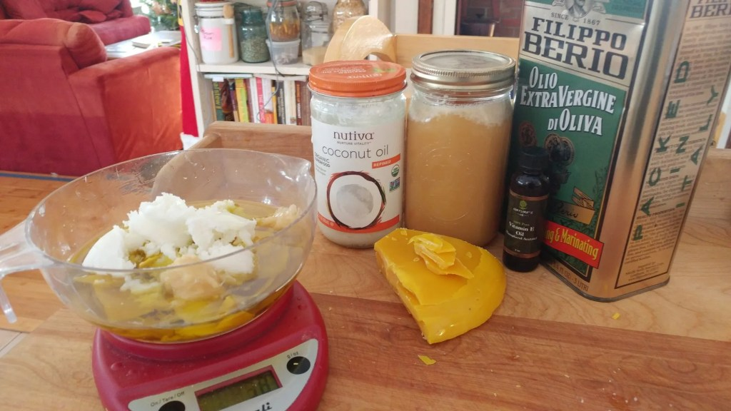 Ingredients for making your own lip balm.