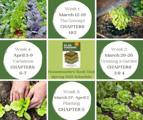 visual with weekly topics for the homesteaders' book club spring 2021