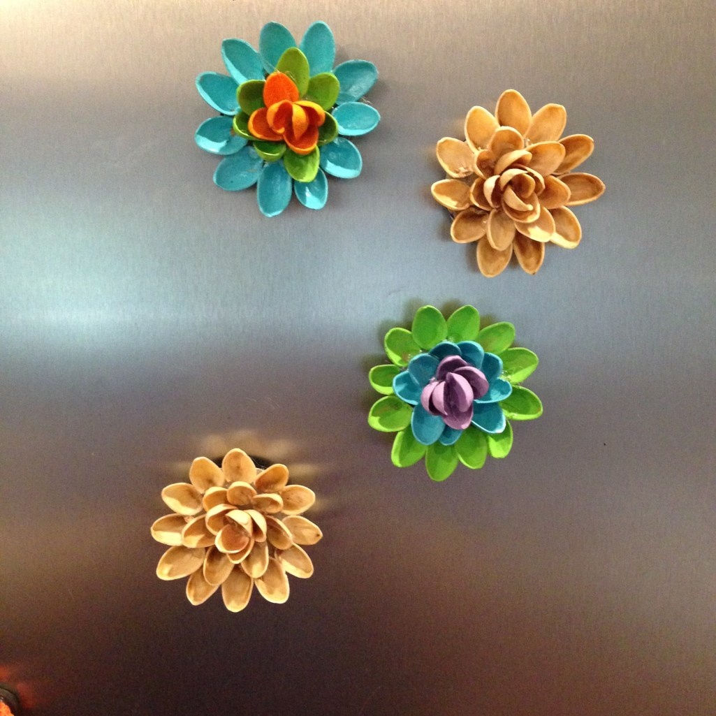 Pistachio Shell Flower Magnets on Fridge