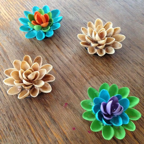 Pistachio Shell Flower Magnets