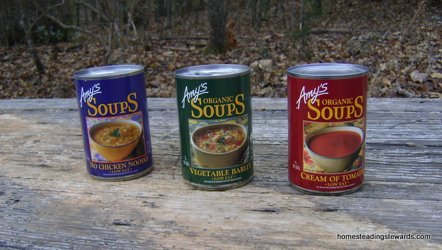 Amy's Organic Soups: Tomato, No Chicken Noodle, and Vegetable Barley