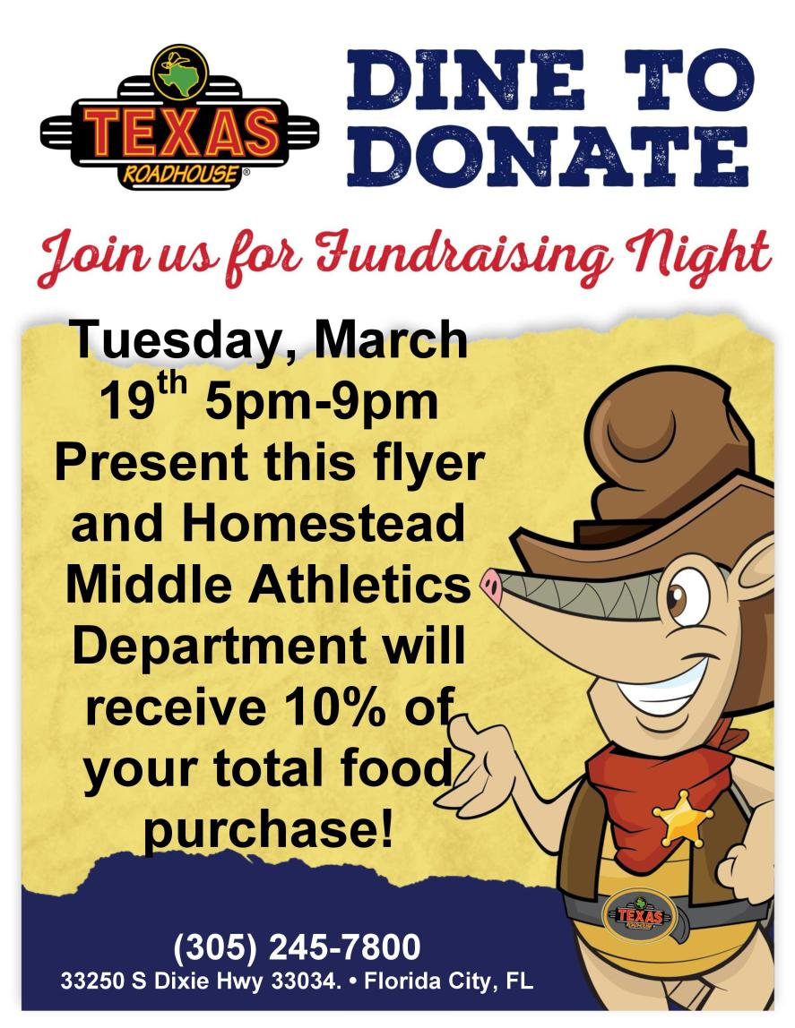 Athletics Fundraiser Texas Roadhouse Flyer