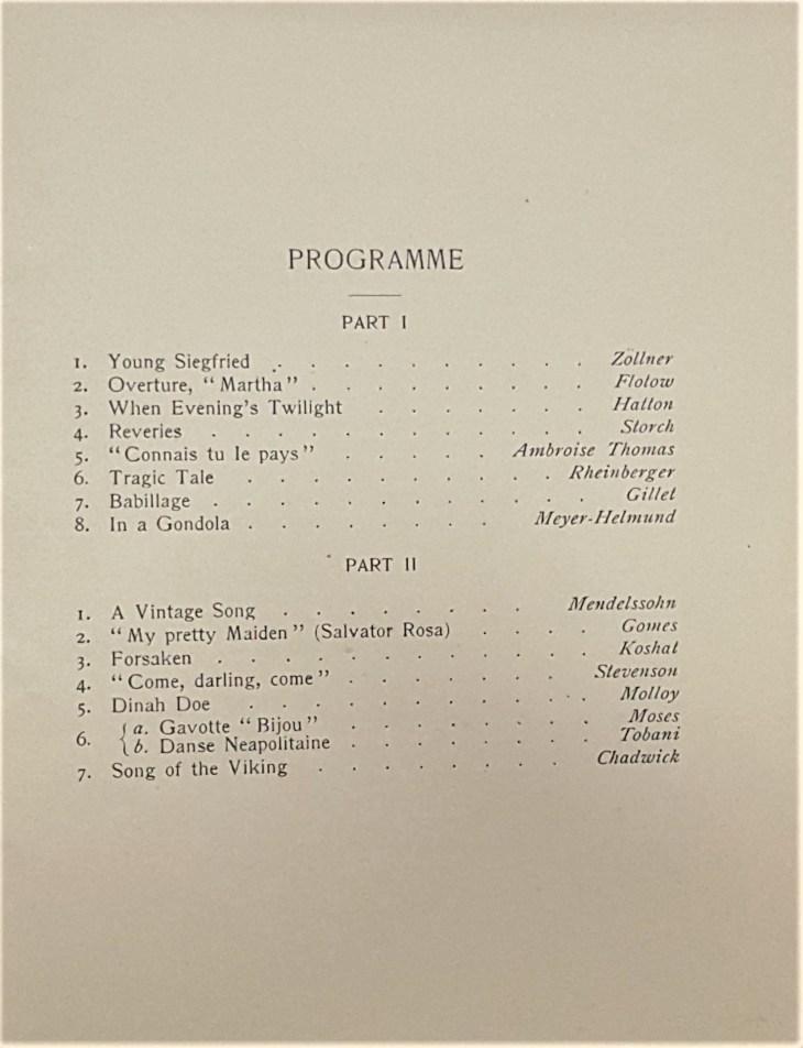 Ellis Club programme 1