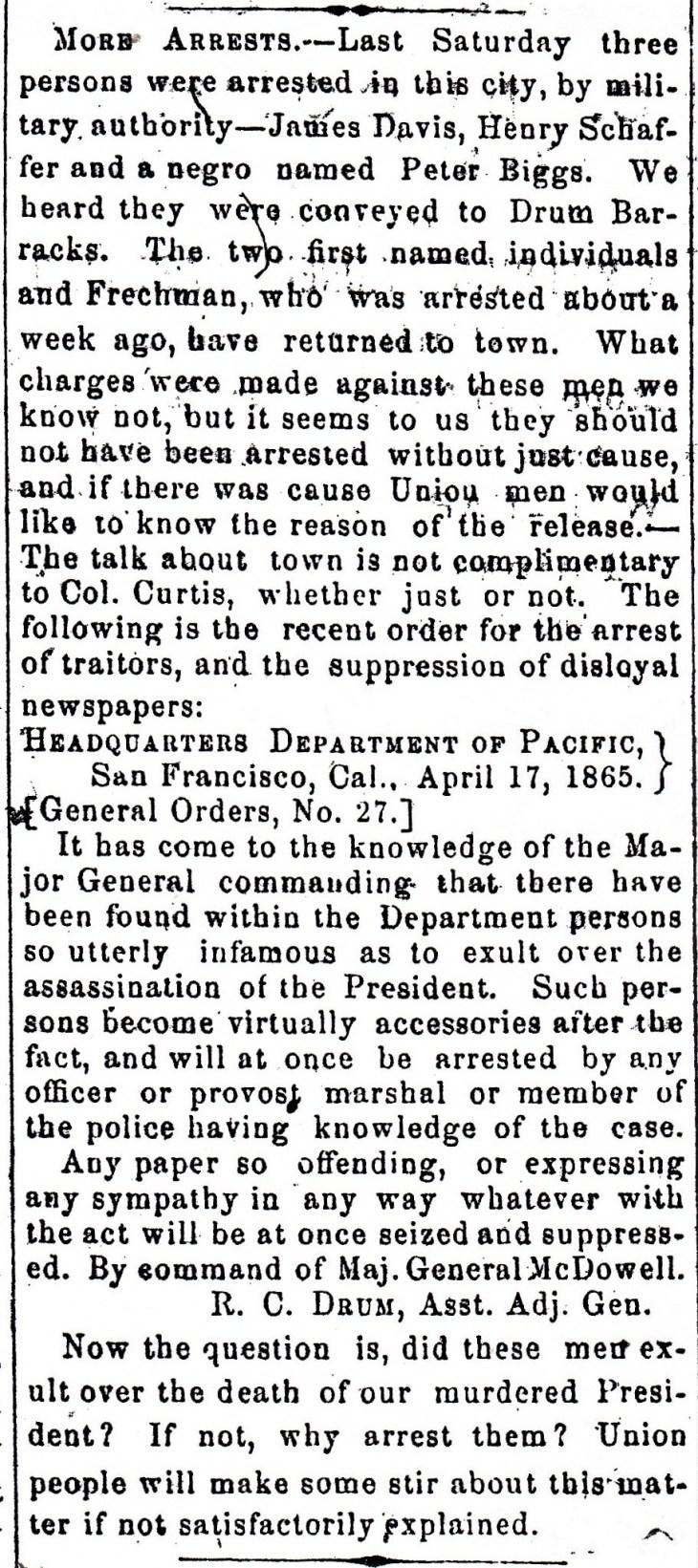 Lincoln assassination celebration News 2 1865