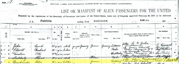 Berschneider - Passenger list