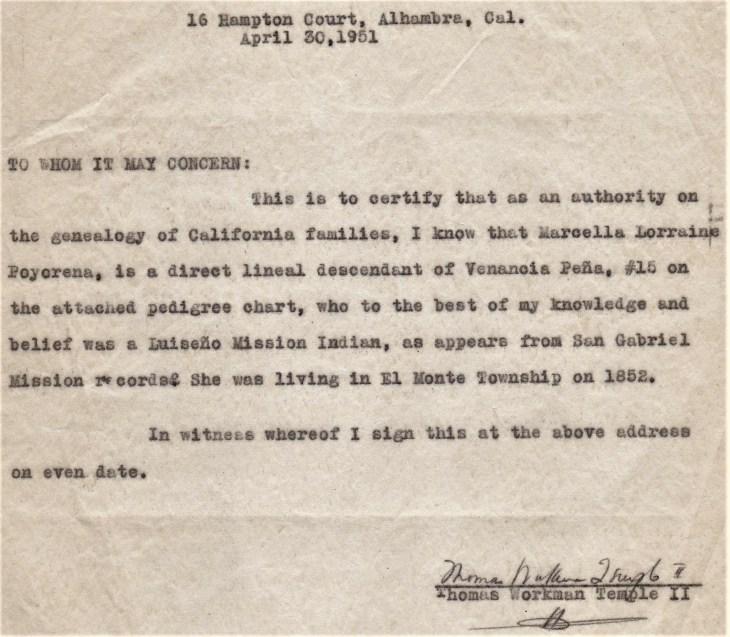 TW Temple II genealogy cover letter 30 Apr 1951