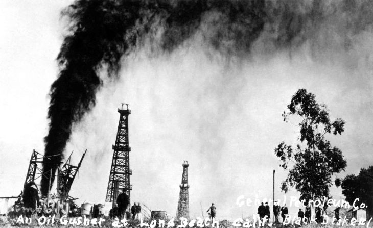 RPPC An Oil Gusher At Long Beach Calif General Petroleum Co Blac