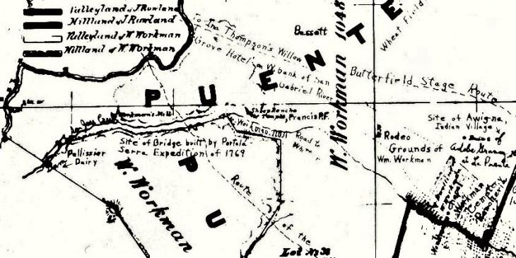 La Puente 1868 map Avocado Heights area