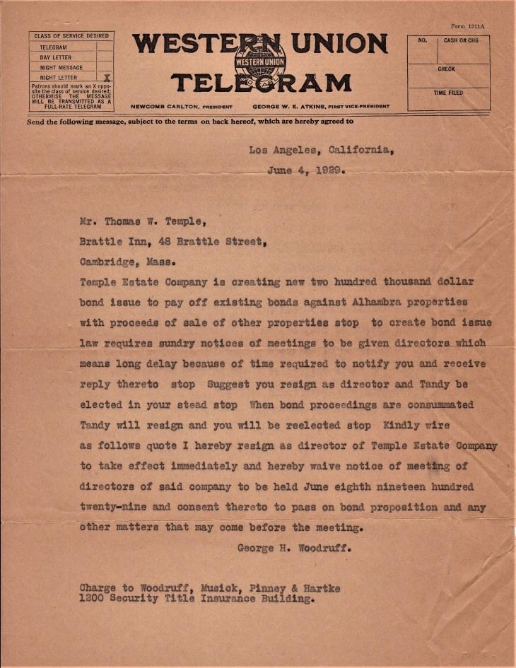 Woodruff telegram 4Jun29