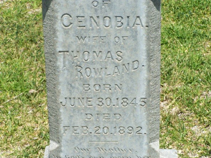 Zenobia Rowland tombstone