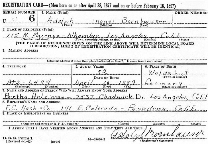 WWII registration early 1942