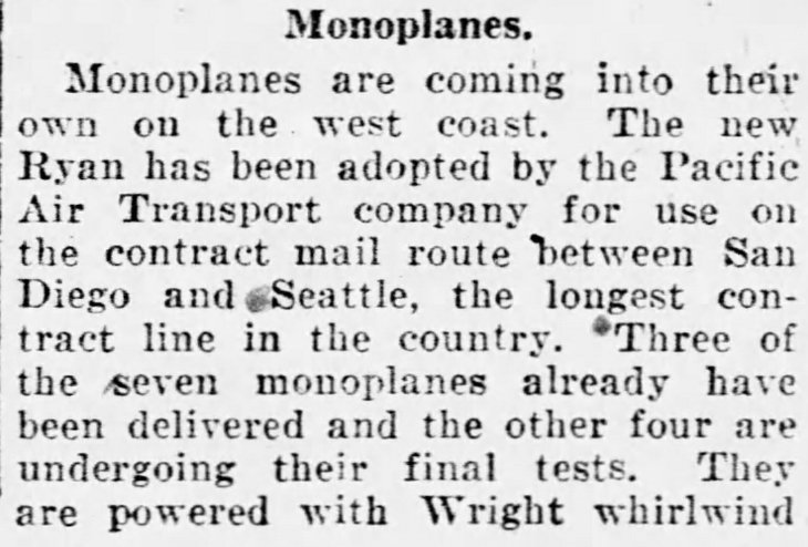 PAT monoplane Moline, IL_Dispatch_Jul_21__1926_
