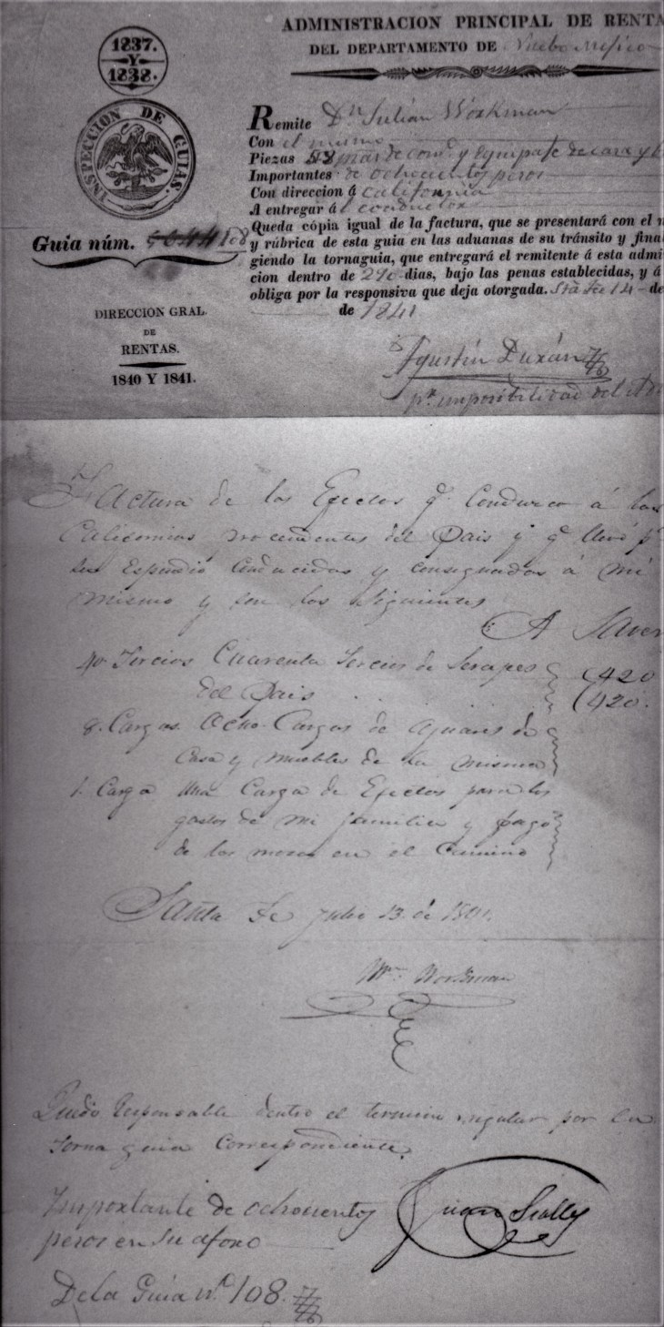 Workman permit and bill, 13-14 July 1841