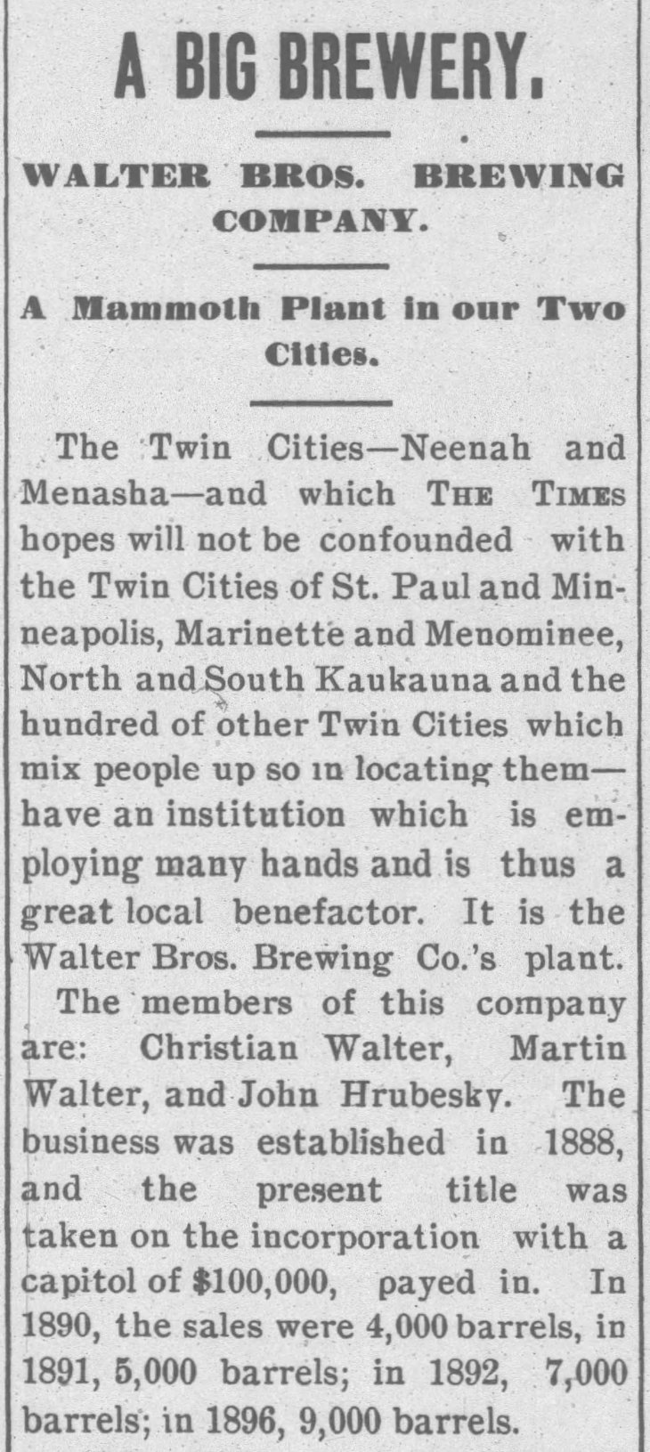 Walter Bros brewery Neenah_Daily_Times_Jun_4__1897_