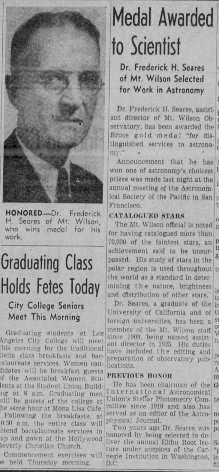 Bruce Medal to FH Seares The_Los_Angeles_Times_Sun__Jan_28__1940_