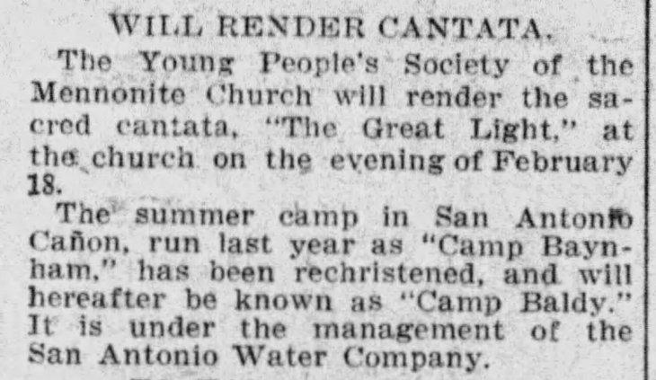 Camp Baynham Becomes Camp Baldy The_Los_Angeles_Times_Sun__Feb_14__1909_