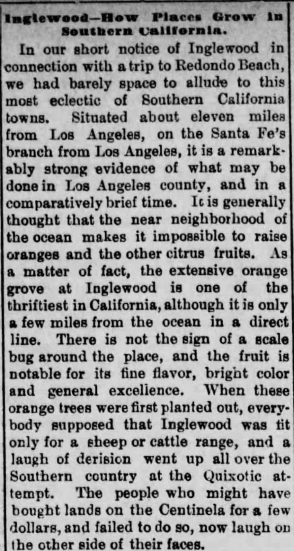Inglewood article Los_Angeles_Herald_Sun__Feb_10__1889_