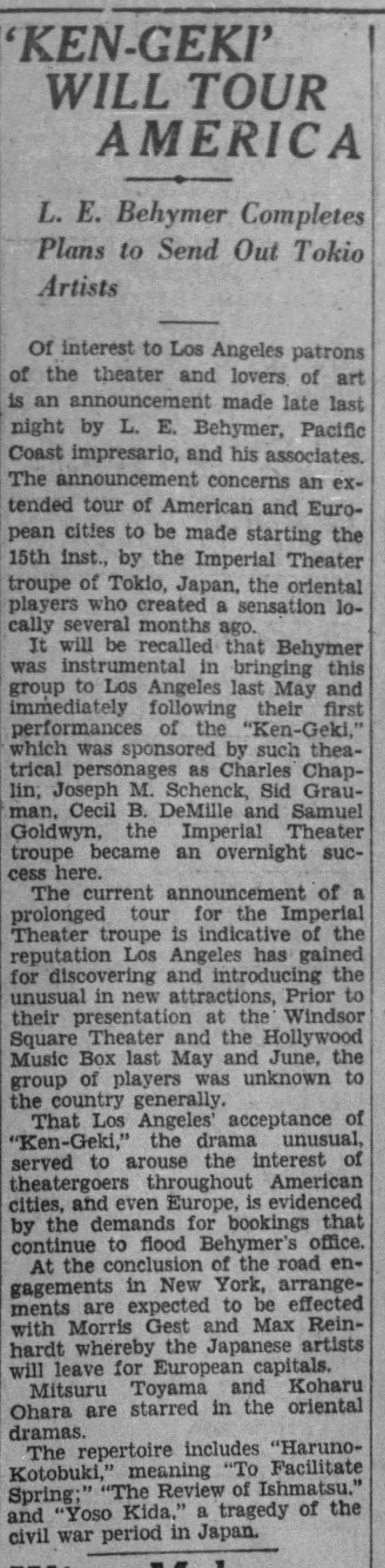 Ken Geki American tour The_Los_Angeles_Times_Sat__Nov_10__1928_