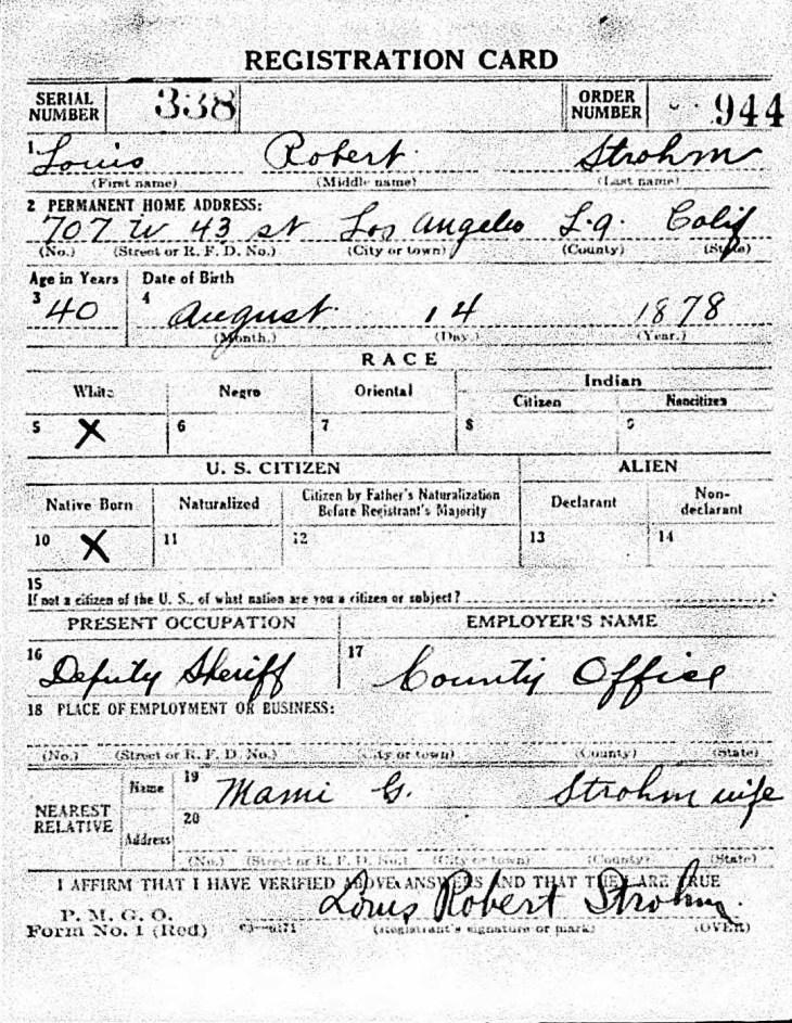 Strohm WWI reg card