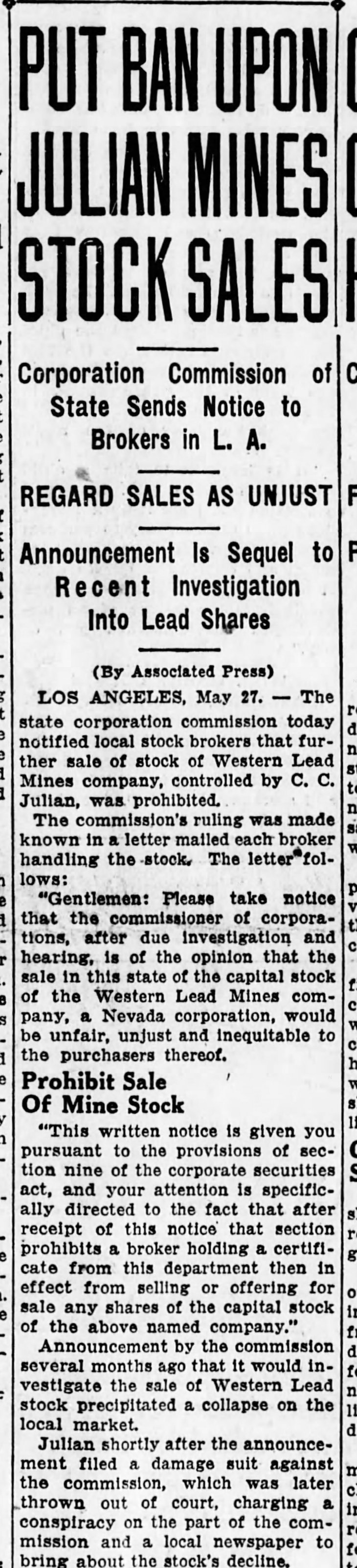 Western Lead stock sales banned The_San_Bernardino_County_Sun_Fri__May_28__1926_