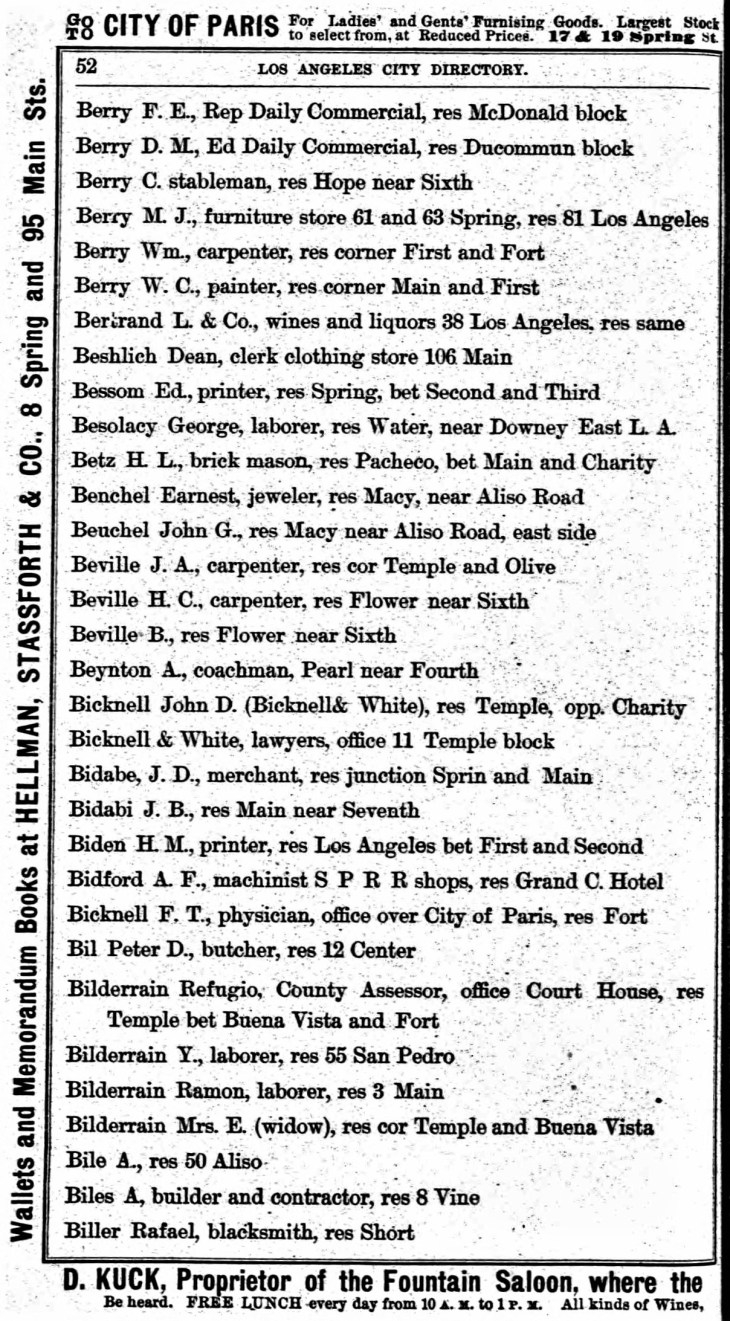 1883 City Directory Bilderrain