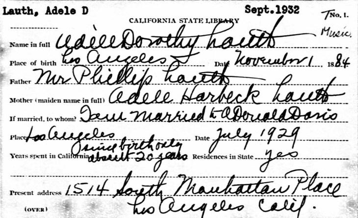 Adele D Lauth bio card 1932
