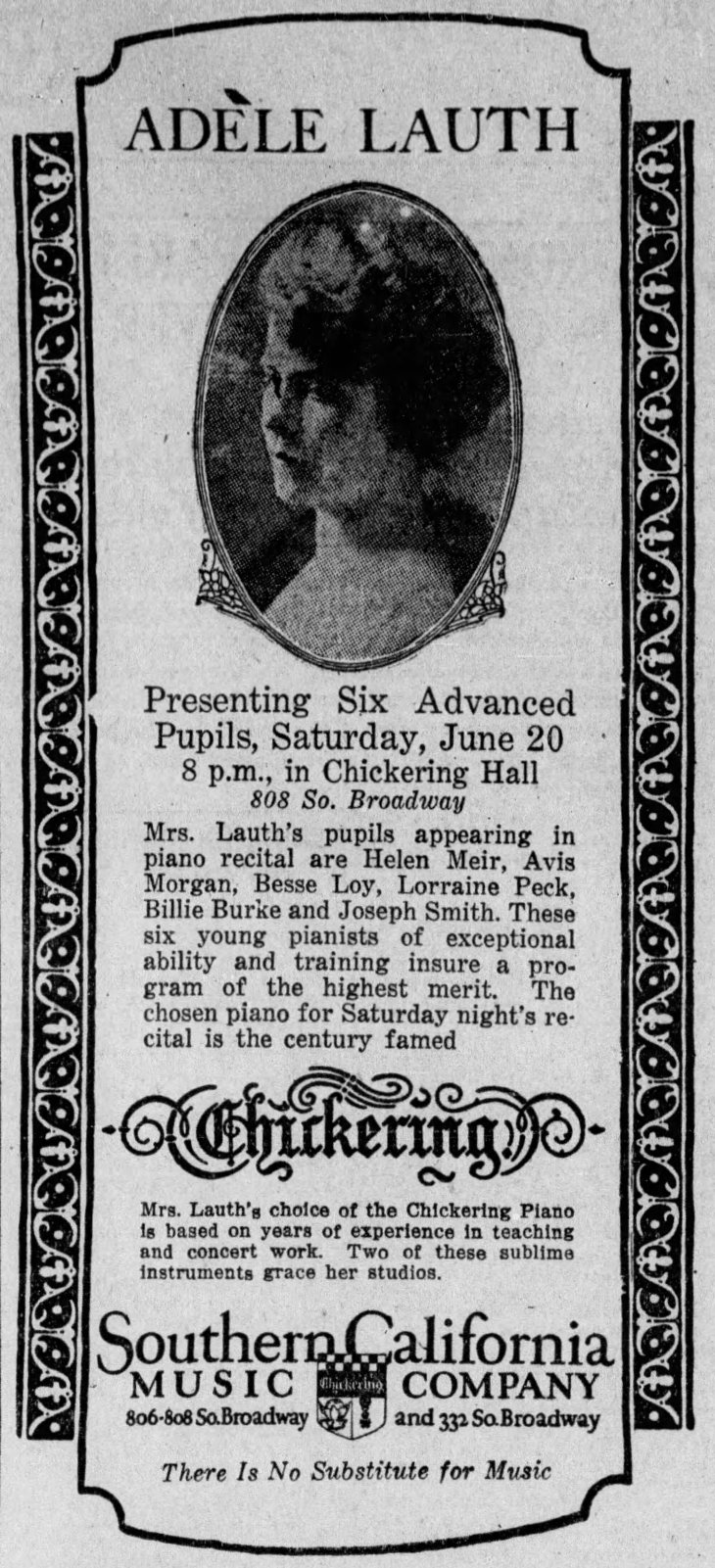 Adele Lauth music company ad The_Los_Angeles_Times_Wed__Jun_17__1925_