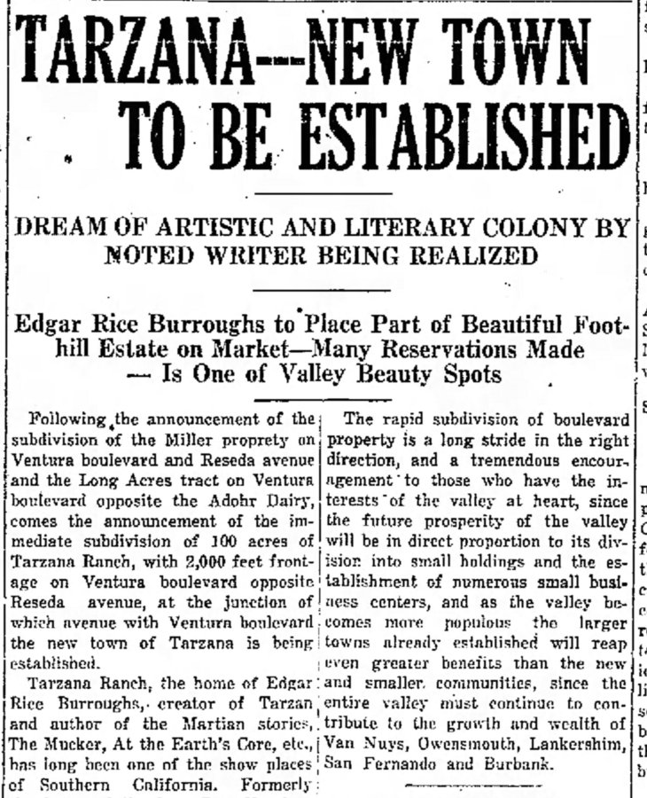 Tarzana town announcement The_Van_Nuys_News_Fri__Sep_15__1922_