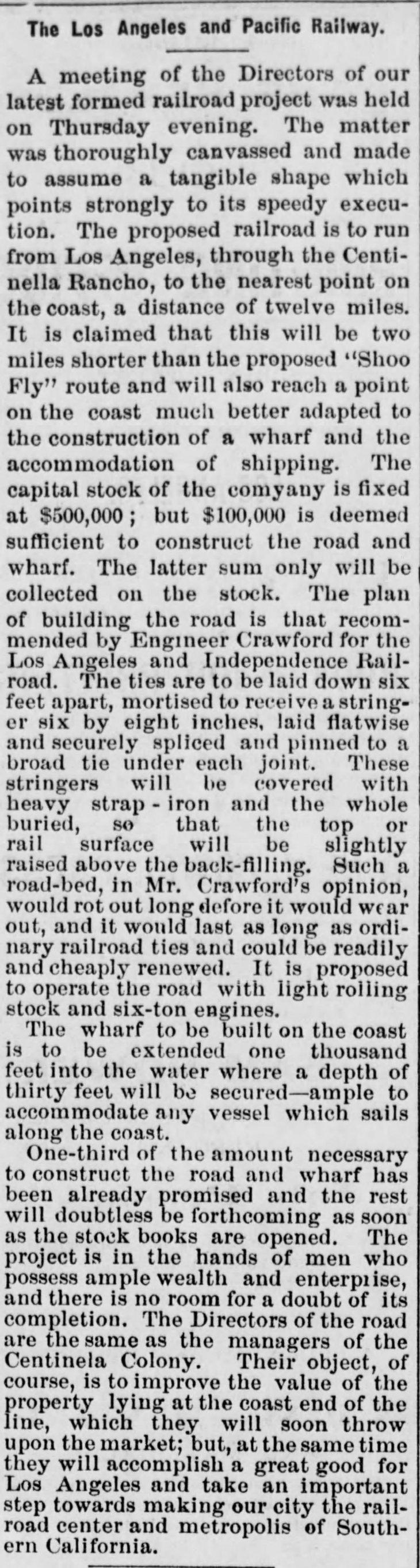 LA & Pacific RR Los_Angeles_Herald_Sat__Dec_12__1874_
