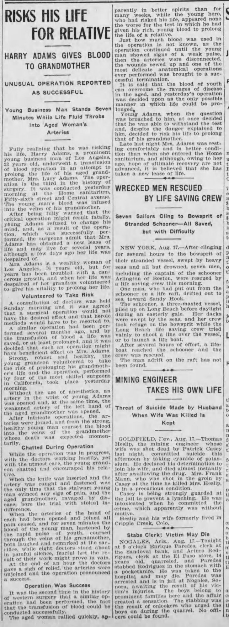 Blood transfusion at Home Sanitarium Los_Angeles_Herald_Wed__Aug_18__1909_