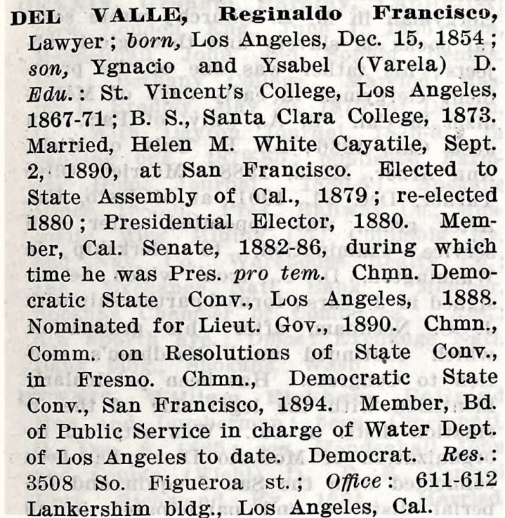 del Valle Who's Who Pac Coast 1913