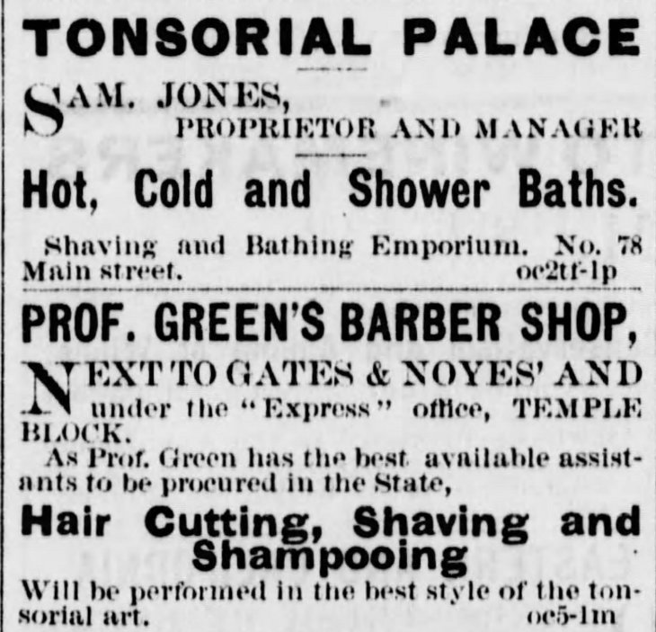 Jones Green barber shop ads Los_Angeles_Herald_Sun__Oct_12__1873_