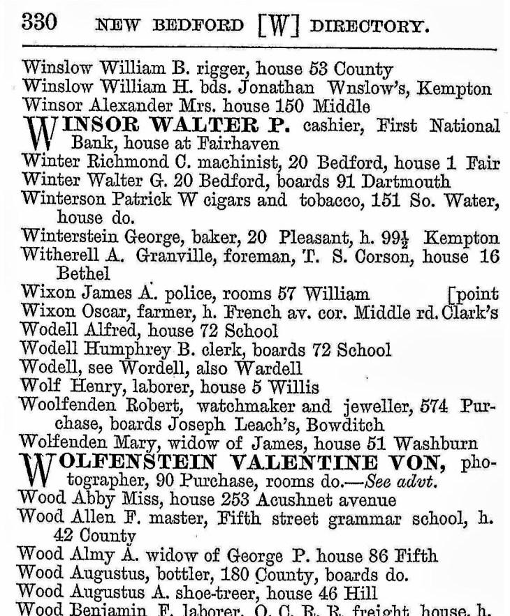 Wolfenstein ad New Bedford MA 1883