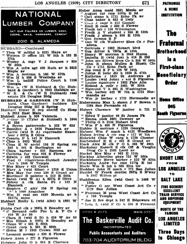 Huddleston West Coast Art Co 1909 directory