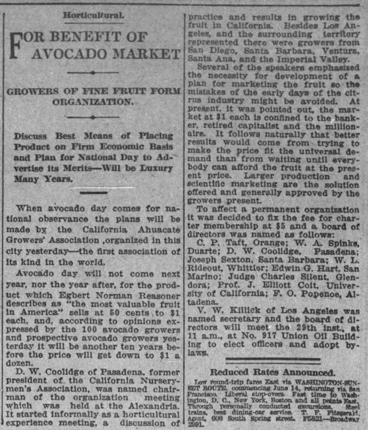 California Ahuacate Growers Association organizing mtg The_Los_Angeles_Times_Sat__May_15__1915_