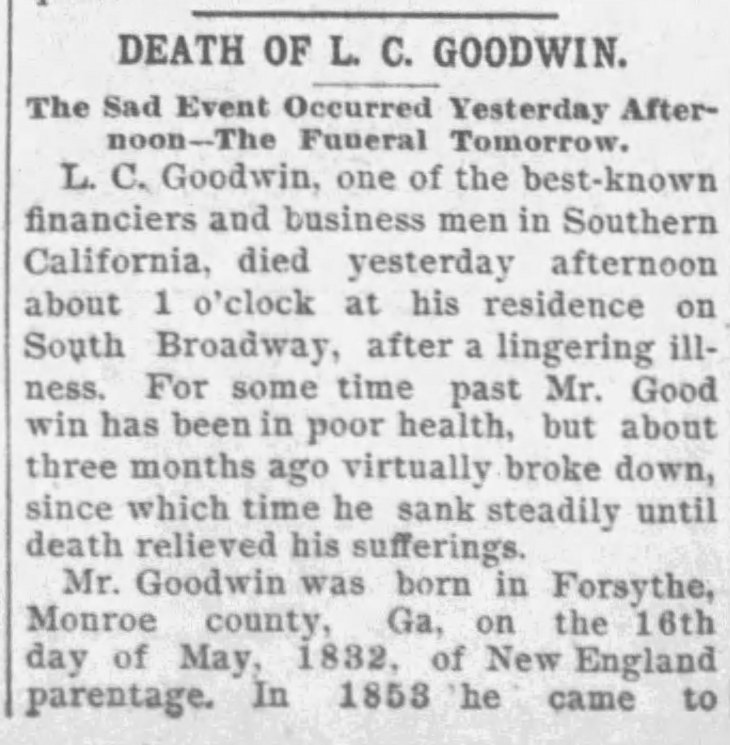 Goodwin obit p 1 The_Los_Angeles_Times_Wed__Nov_18__1891_